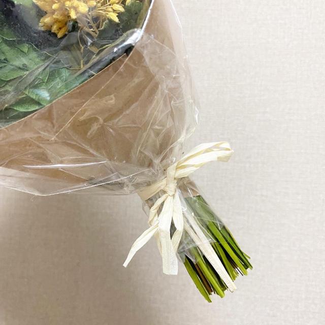 Francfranc(フランフラン)のフランフランで購入★ドライフラワー 黄色 イエロー グリーン 花 ミモザ 花束 ハンドメイドのフラワー/ガーデン(ドライフラワー)の商品写真