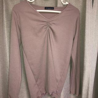 ディーホリック(dholic)のdholic♡ギャザーロングTシャツ(Tシャツ/カットソー(七分/長袖))