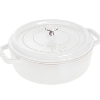 ストウブ(STAUB)の【新品】Staub シャロ―ラウンドココット 26 cm ホワイト(鍋/フライパン)