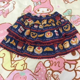 シャーリーテンプル(Shirley Temple)のシャーリーテンプル ベーカリ柄ースカートネイビー100cm(スカート)