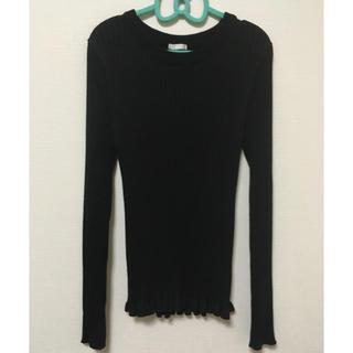 ジーユー(GU)のリブセーター/Black(ニット)