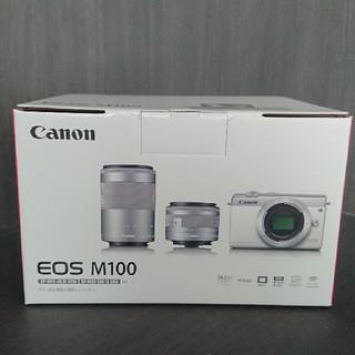 キヤノン(Canon)の☆新品未開封☆Canon EOS M100 Wズームキット WH(デジタル一眼)