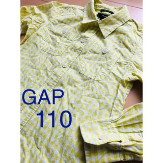 ギャップキッズ(GAP Kids)のGAP 長袖 シャツ 110 ブロックチェック イエロー キッズ 男の子(ブラウス)