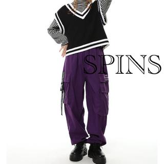 スピンズ(SPINNS)のSPINNS カーゴパンツ ワークパンツ パープル(ワークパンツ/カーゴパンツ)