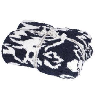 カシウエア(kashwere)の新品 カシウェア ダマスクブランケット Kash were ネイビー×ホワイト(毛布)
