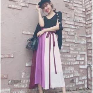 ECLIN♡カラーブロックギャザリングSK(ロングスカート)