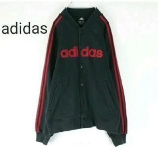 アディダス(adidas)のadidas アディダス スウェットスタジャン ビッグロゴ 刺繍ロゴ 黒 赤(スタジャン)