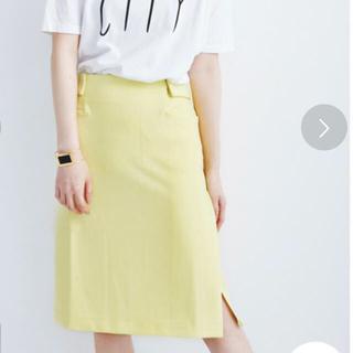 ハコ(haco!)のタイトスカート イエロー サイズ6(L)(ひざ丈スカート)