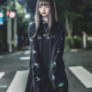 ミルクボーイ(MILKBOY)のKRY DAVIDEEYE オーバーサイズ ロングT ブラック (Tシャツ/カットソー(七分/長袖))