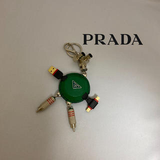 プラダ(PRADA)のPRADAプラダロボットキーリングUSBxAndroid端口レザー金属素材緑x黒(キーホルダー)