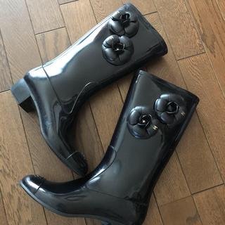 シャネル(CHANEL)のシャネル レインブーツ 正規品 ゴールドカメリア 37(レインブーツ/長靴)