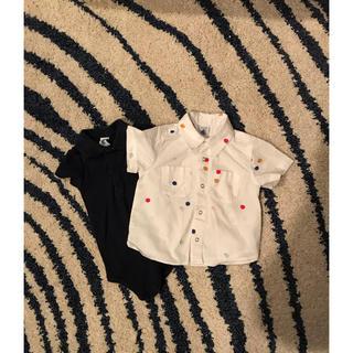 プチバトー(PETIT BATEAU)のプチバトー  襟付きシャツと襟付きロンパースの2枚組(ロンパース)