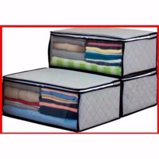 衣類 整 理袋 3枚組 グレー 活性灰 (電話台/ファックス台)