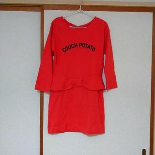ロデオクラウンズ(RODEO CROWNS)の即購入のみ♥️新品タグ付きRodeocrownオレンジスエットペプラムミニワンピ(ミニワンピース)