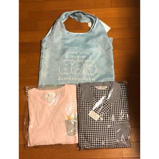 シマムラ(しまむら)のすみっコぐらし パジャマ2点とエコバッグ(ブルー) Mサイズ(パジャマ)