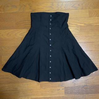 ジーヴィジーヴィ(G.V.G.V.)のG.V.G.V. ハイウエストスカート フロントボタン ブラック サイズ36(ひざ丈スカート)