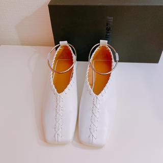 ジルサンダー(Jil Sander)の新品未使用♡ジルサンダー フラットシューズ 39 アンクレットシューズ ホワイト(バレエシューズ)