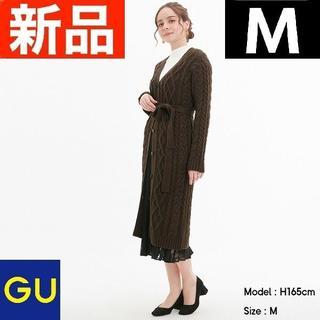 ジーユー(GU)のケーブルニットロングガウン(長袖) GU ジーユー ブラウン Mサイズ(その他)