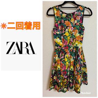 ザラ(ZARA)のZARA 花柄 ワンピース ドレス(ミディアムドレス)