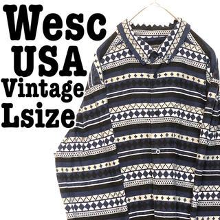 ウィーエスシー(WeSC)の【USA】wesc トップス シャツ 総柄 ダイヤ柄 古着 90s ビンテージ(シャツ)
