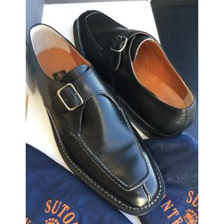 ストールマンテラッシ(SUTOR MANTELLASSI)の旧ロゴ ストール マンテラッシ 黒 シボ 42.5(ドレス/ビジネス)