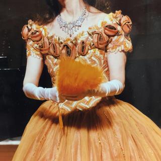 エメ(AIMER)のオレンジゴールドのウエディング用カラードレス演奏会豪華大人ドレス(ウェディングドレス)