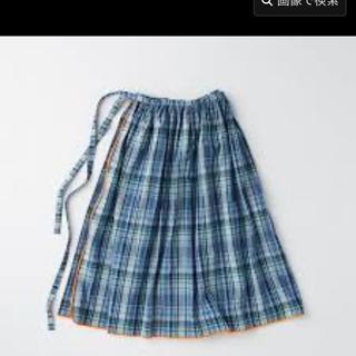 イデー(IDEE)のPOOL いろいろの服 巻きギャザーエプロン マドラスチェック ブルー (ロングスカート)