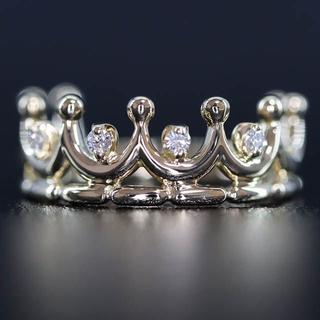 K18 18金 王冠 水紋 デザイン ダイヤモンド リング(リング(指輪))