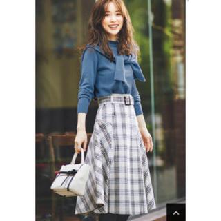 ジャスグリッティー(JUSGLITTY)の新品タグ付 チェックツイードフレアスカート(ひざ丈スカート)