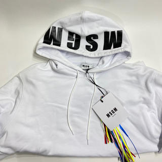 エムエスジイエム(MSGM)の新品 MSGM エムエスジーエム フード ロゴ パーカー レディース ホワイトM(トレーナー/スウェット)