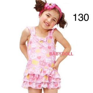 ベビードール(BABYDOLL)の新品 BABYDOLL☆130 フリル ワンピース 水着 ピンク ベビードール(水着)