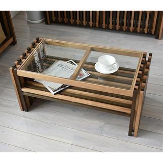 【送料無料】Villa Glass Low Table / WBrown(ローテーブル)