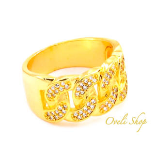 【海外限定】メンズ リング 指輪 ゴールド ジルコニア 喜平(リング(指輪))