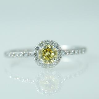 天然カラーダイヤ Fancy vivid yellow 指輪 リング ファンシー(リング(指輪))