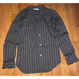 エディフィス(EDIFICE)のエディフィス バンドカラー  シャツ ストライプ グレー S(シャツ)