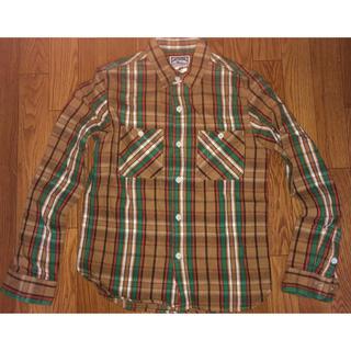 キャンバスバック ネルシャツ チェック 薄茶 ブラウン S(シャツ)
