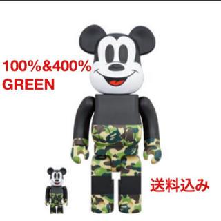 アベイシングエイプ(A BATHING APE)のベアブリック ベイプ ミッキーマウス 100%&400% GREEN 緑 新品(その他)