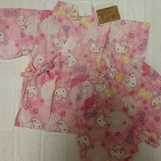 ハローキティ(ハローキティ)の女の子 甚平 キティちゃん 新品 80サイズ(甚平/浴衣)