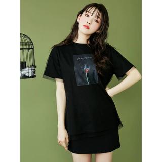 イートミー(EATME)のEATME チュールラッピンググラフィックTシャツ(Tシャツ(半袖/袖なし))