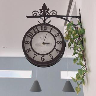 フランフラン(Francfranc)の美品 壁掛け時計 両面 Old street clock オシャレ(掛時計/柱時計)