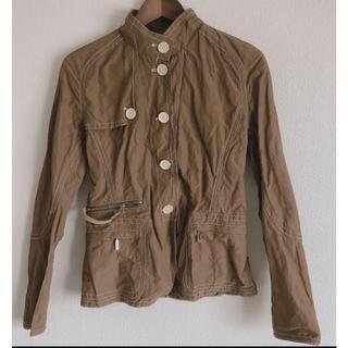 モンクレール(MONCLER)の極美品◎ モンクレール 茶タグ デザインの凝ったジャケット ブラウン レザー使用(ブルゾン)