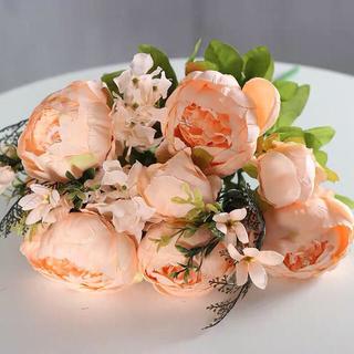 造花 バラ ピンク オレンジ アーティフィシャルフラワー 高級(その他)