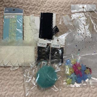 キワセイサクジョ(貴和製作所)のレース チュール リボン フェザー 羽 ハンドメイド セット(生地/糸)