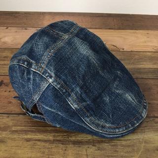 メンズ ハンチング帽 キャップ インディゴブルー デニム(ハンチング/ベレー帽)