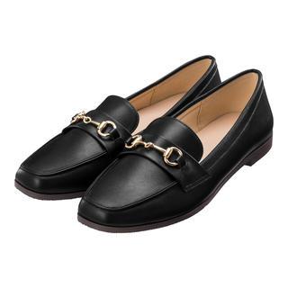 ジーユー(GU)のGU 美品☆ビットローファー パンプス フラット M 23.5cm ブラック(ローファー/革靴)