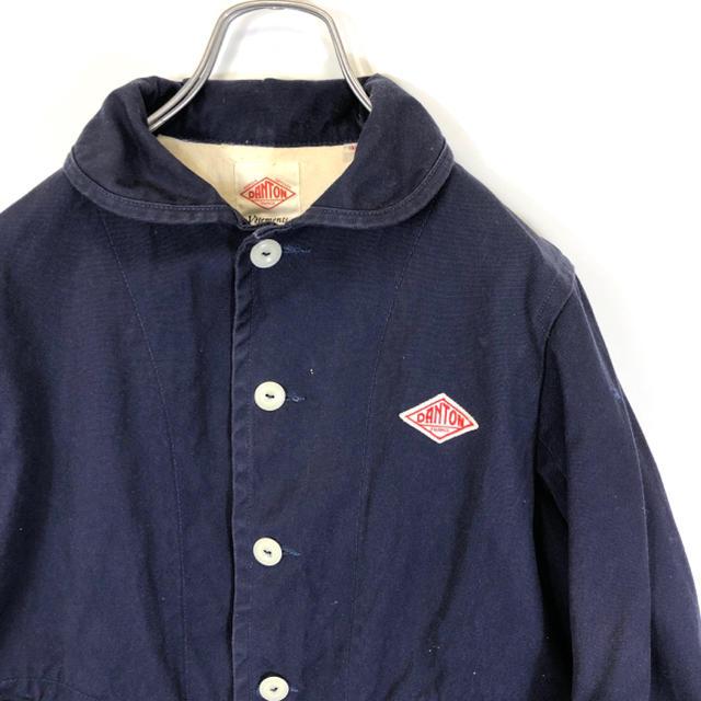 DANTON(ダントン)のDANTON ショールカラー コットンジャケット レディース34 ネイビー レディースのジャケット/アウター(ノーカラージャケット)の商品写真