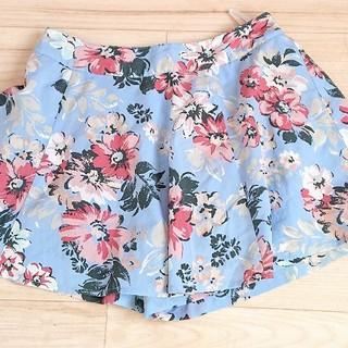 ミスティウーマン(mysty woman)の美品 水色 かわいい花柄 キュロット(ミニスカート)