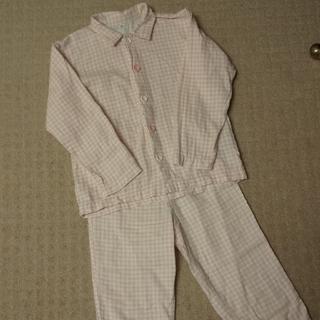 ムジルシリョウヒン(MUJI (無印良品))の無印良品 脇に縫い目のない二重ガーゼパジャマ ピンクギンガムチェック 130cm(パジャマ)