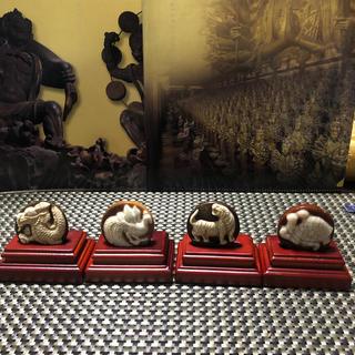 天珠(西蔵老礦骨董白玉髄龍紋四獣神)(彫刻/オブジェ)