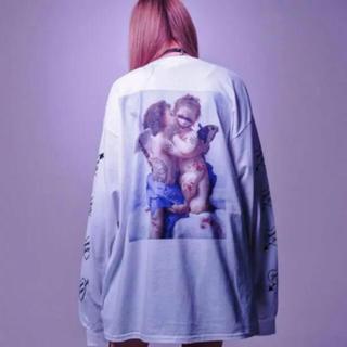 ミルクボーイ(MILKBOY)のTRAVAS TOKYO  天使 名画 ロング Tシャツ ホワイト 新品未開封(Tシャツ/カットソー(七分/長袖))